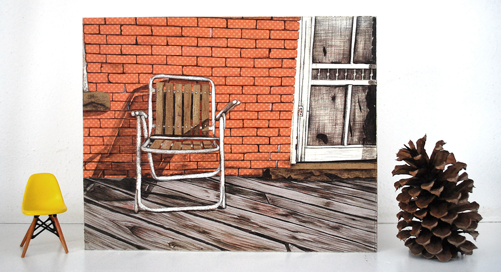 This mixed-media illustrated chair is constructed with collaged paper and ball-point pen.