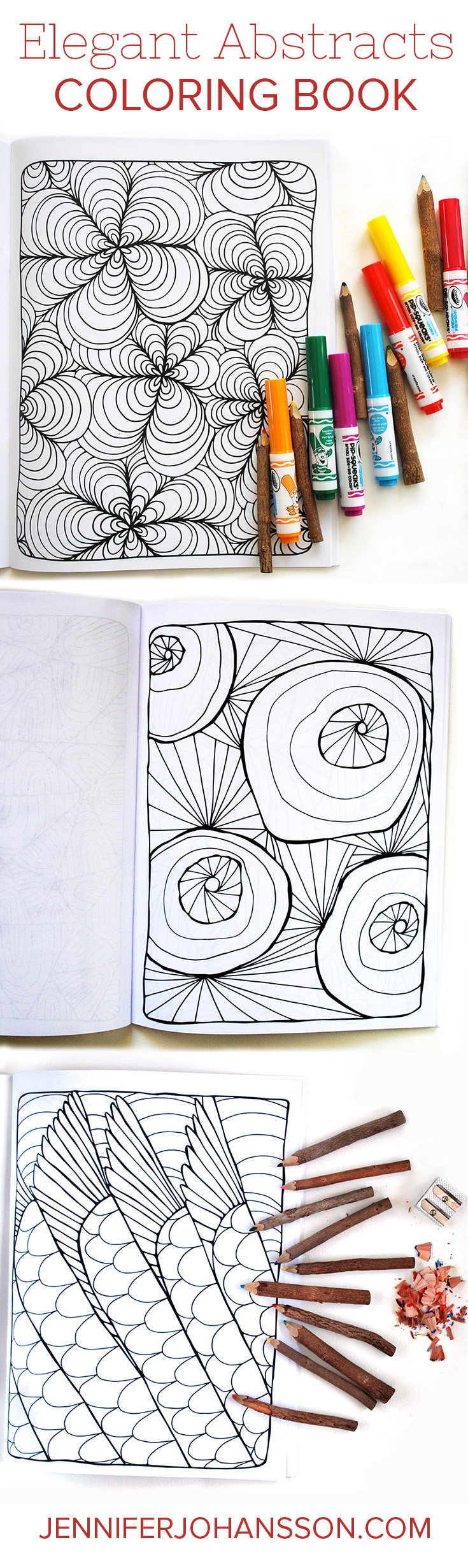 A sampling of pages from my newest coloring book.