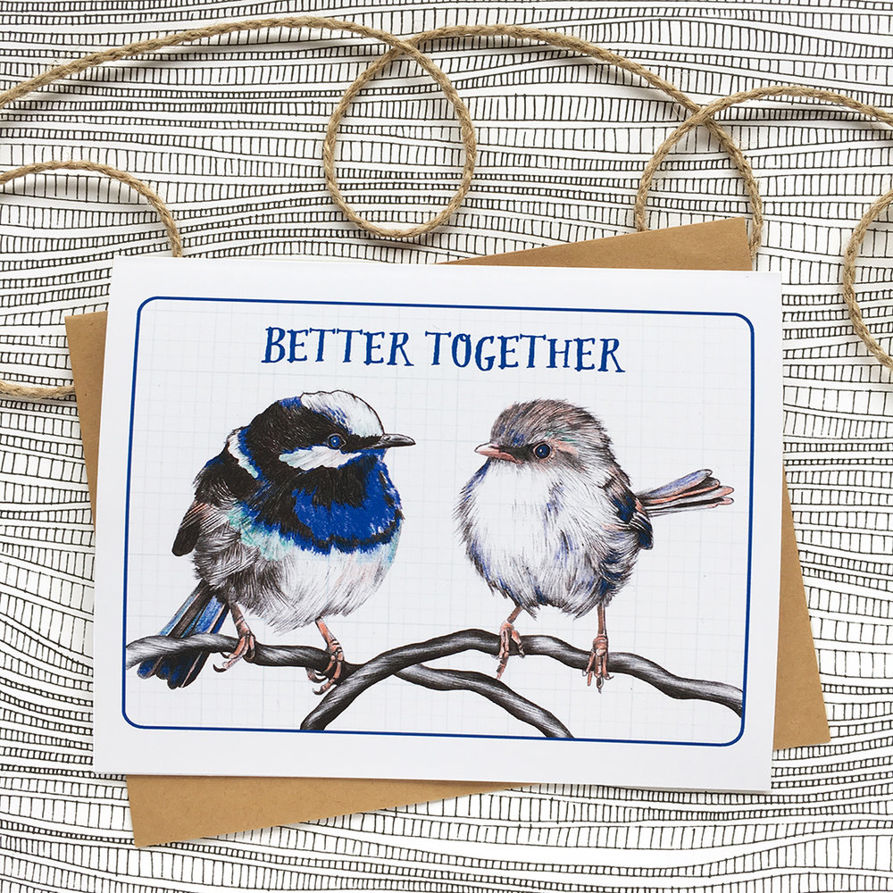 My newest valentine features two adorable fairy wrens. Click to purchase!