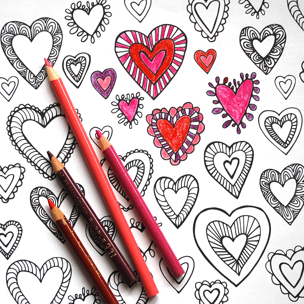 I first used this pattern as a freebie for my mailing list. Want to join the fun? Click the photo and join. You'll get a whole bundle of coloring pages!