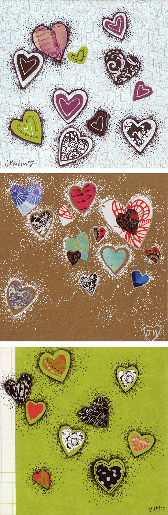 Mixed media heart art I made back in 2011. All have since been sold.