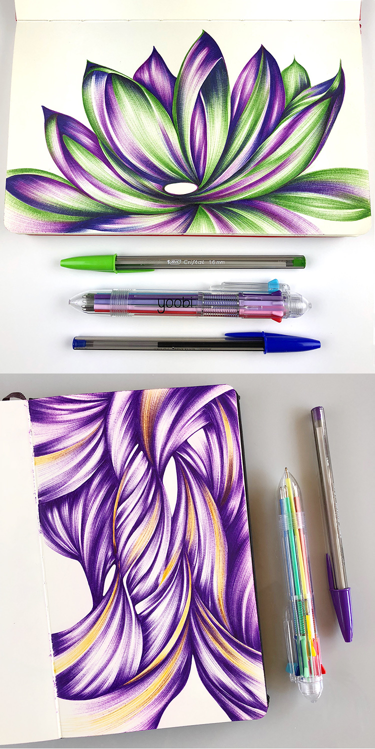 Ballpoint drawings by Jennifer Johansson made with a Yoobi 8-in-one pen.