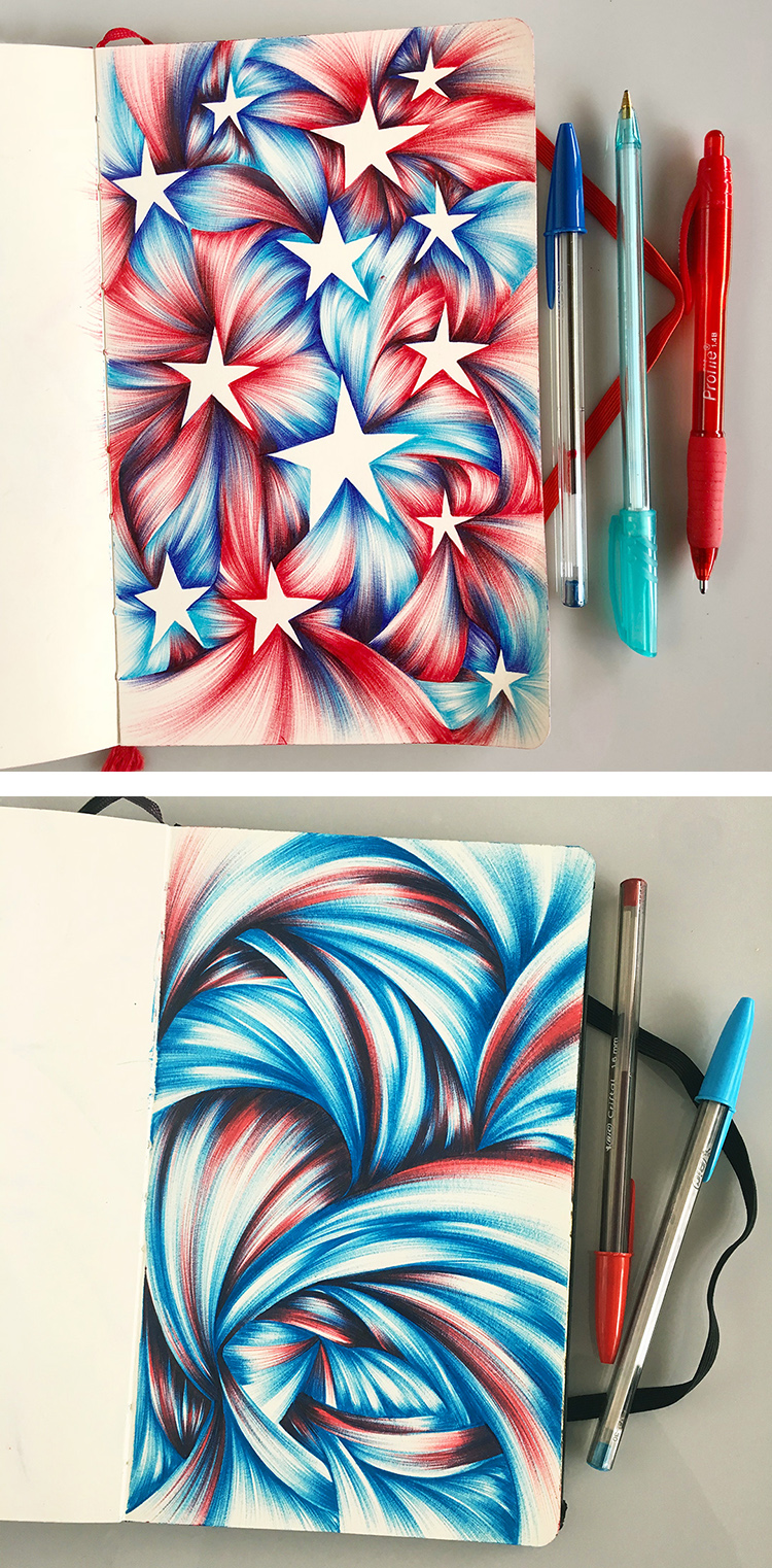 These patriotic ballpoint drawings are destined to become backgrounds for voter postcards.