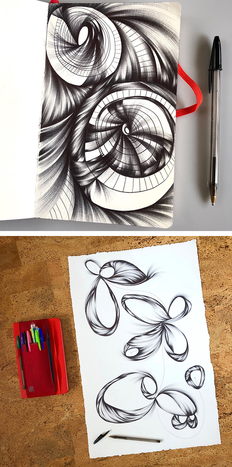 Ballpoint drawings by Jennifer Johansson.