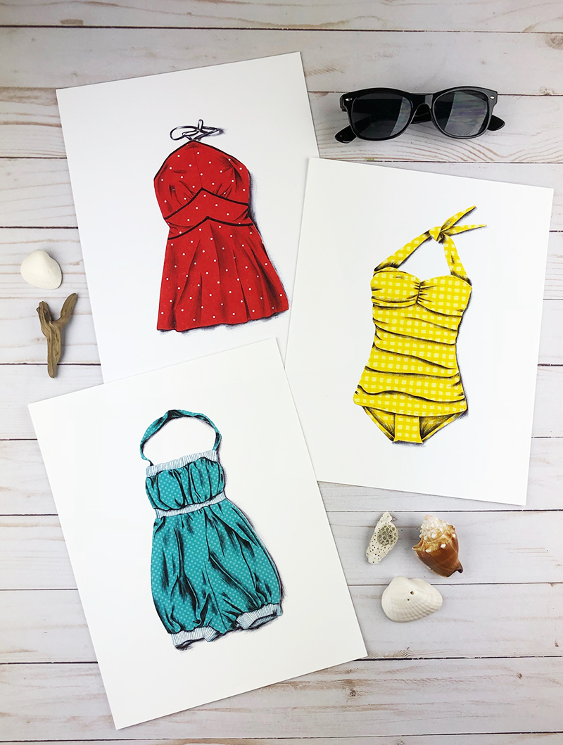 Vintage swimsuit prints are here! Click through to purchase. Buy the set and save $10.00.