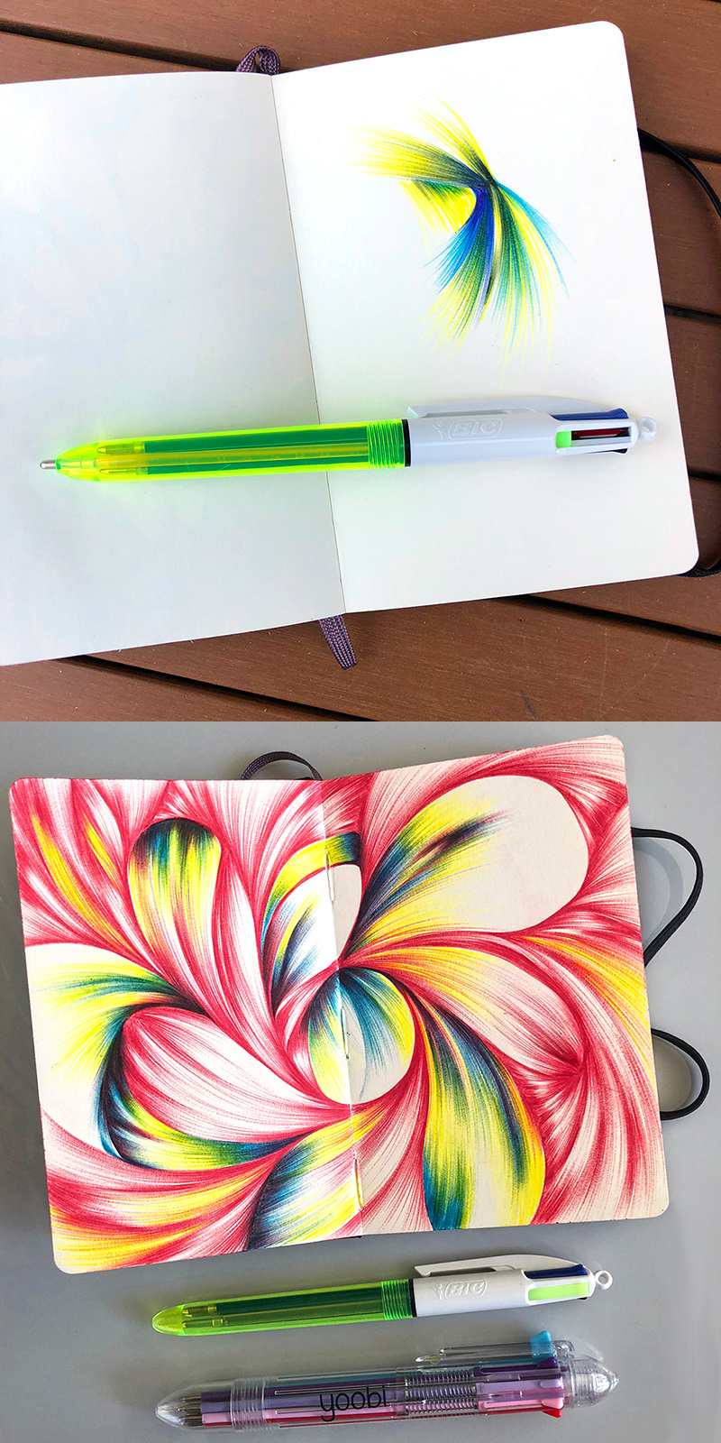 The yellow ink in the Bic pen is fluorescent and smooth as silk. Click to purchase.