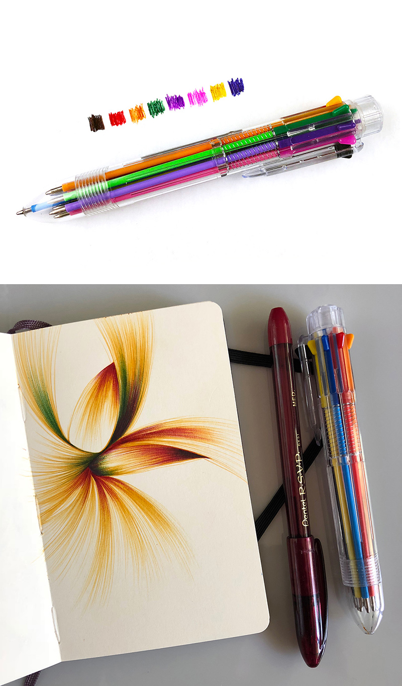 The yellow in the Paperchase 8-in-1 pen is warm and golden.