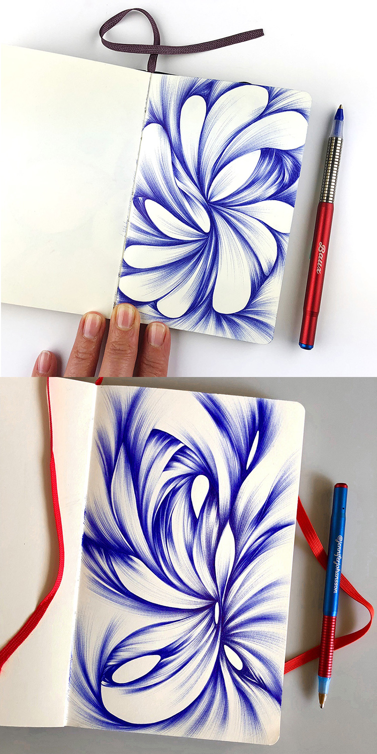 Abstract Ballpoint Drawings Made with Baux Pens