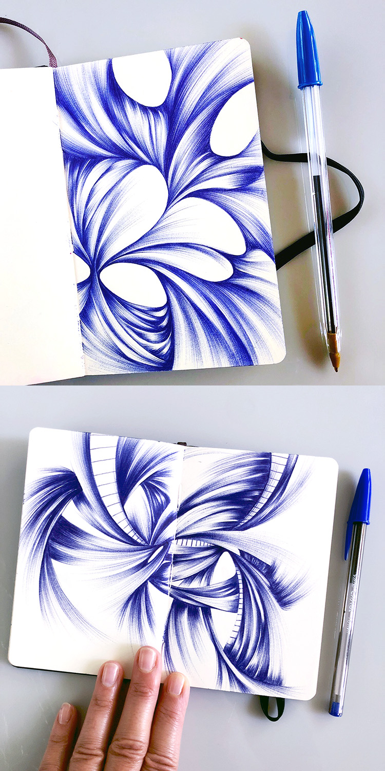 Blue Abstract Ballpoint Drawings by Jennifer Johansson