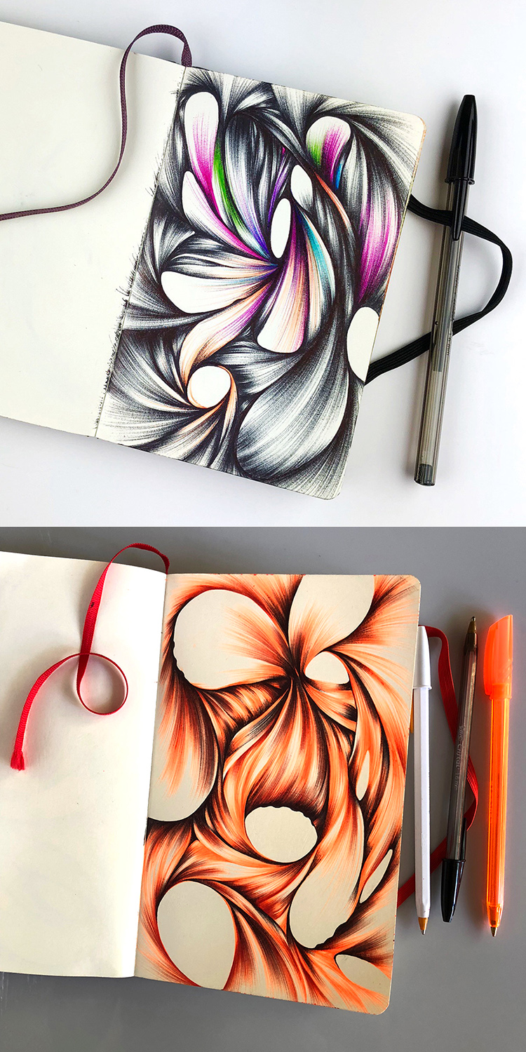 Abstract ballpoint drawings by Jennifer Johansson