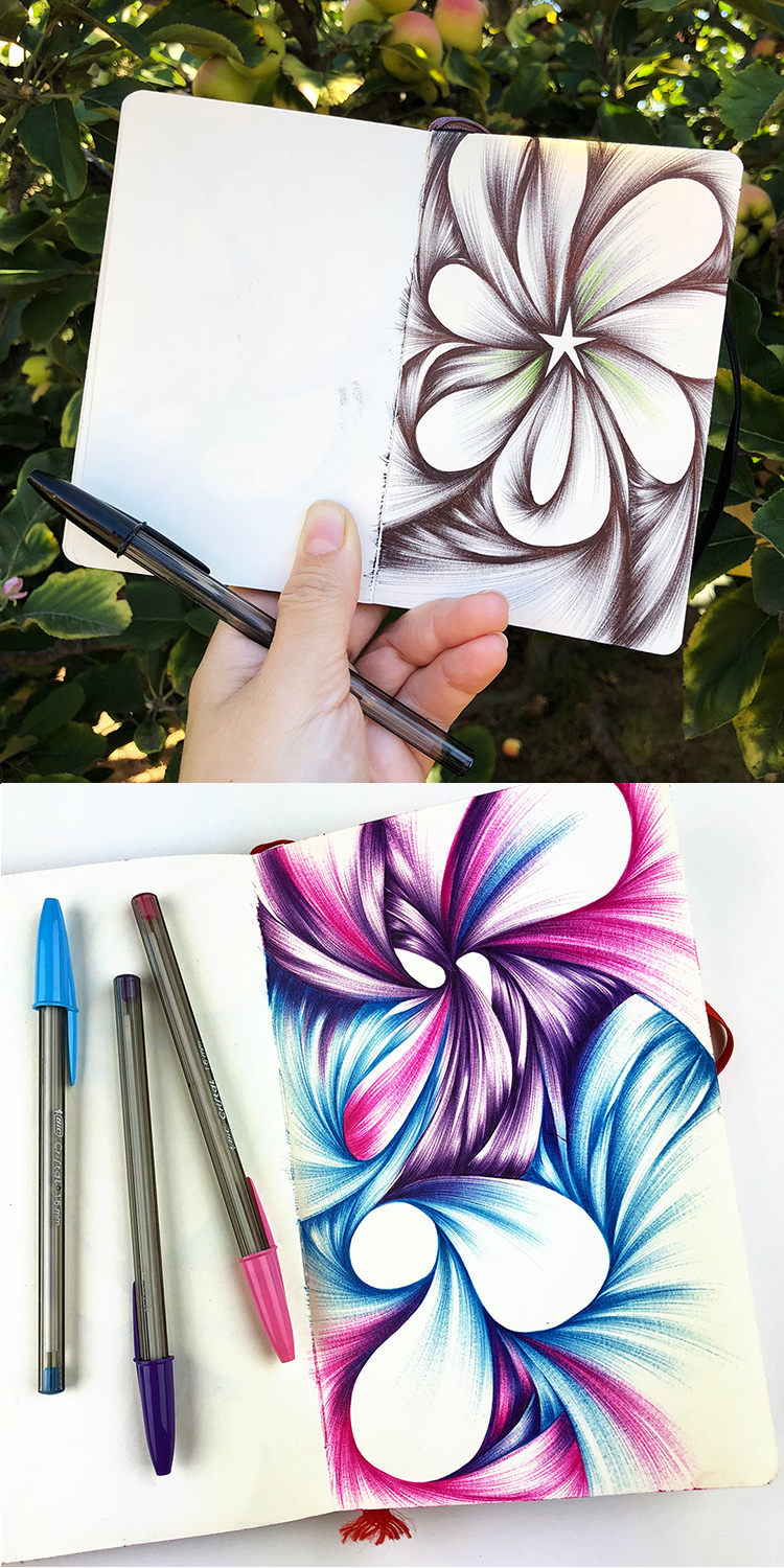 Abstract Ballpoint Pen Drawings by Jennifer Johansson