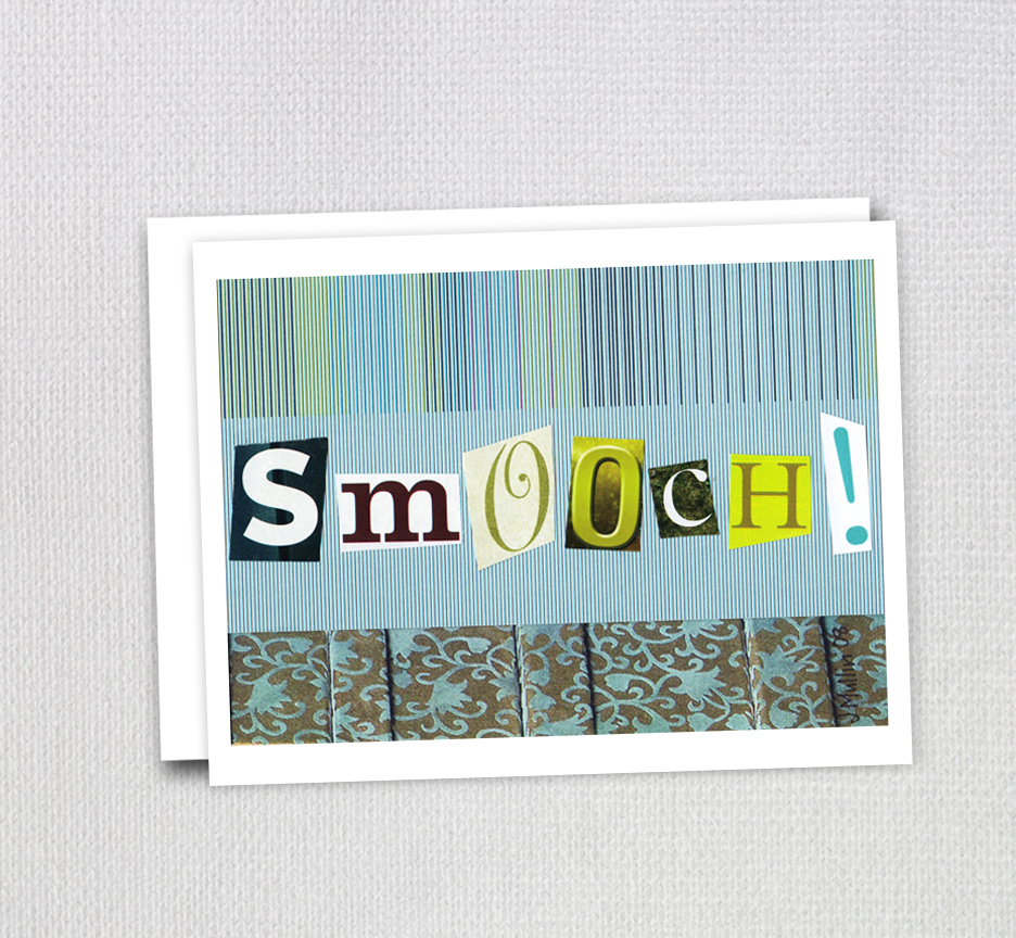 "This ""Smooch"" card was one of the first things I made and listed on Etsy back in 2008."
