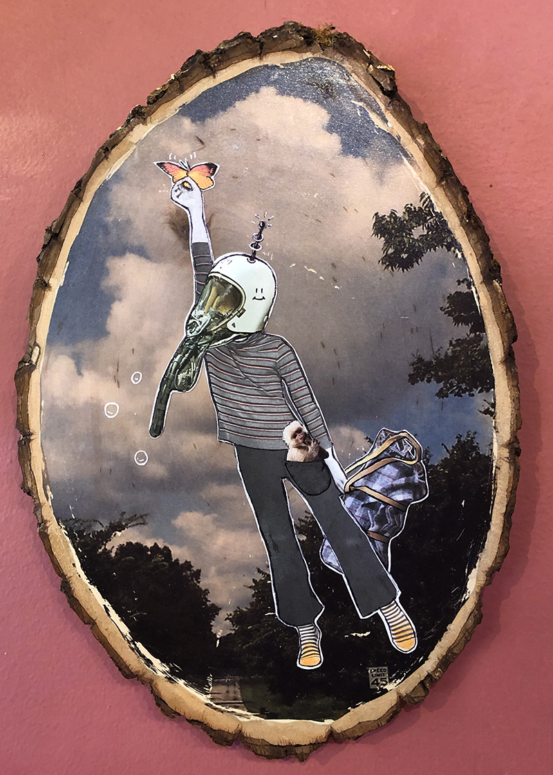 Heather Smith (Merchop) is exhibiting her mixed media collages. (This is my fave!)
