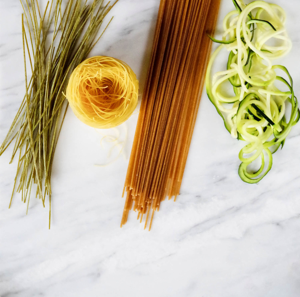 Noodle options:  edamame, angel hair, whole wheat, and zucchini.