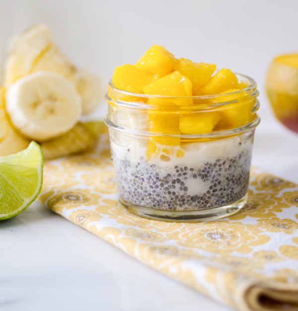 Tropical chia pudding with banana, mango, and lime. Quick and easy!