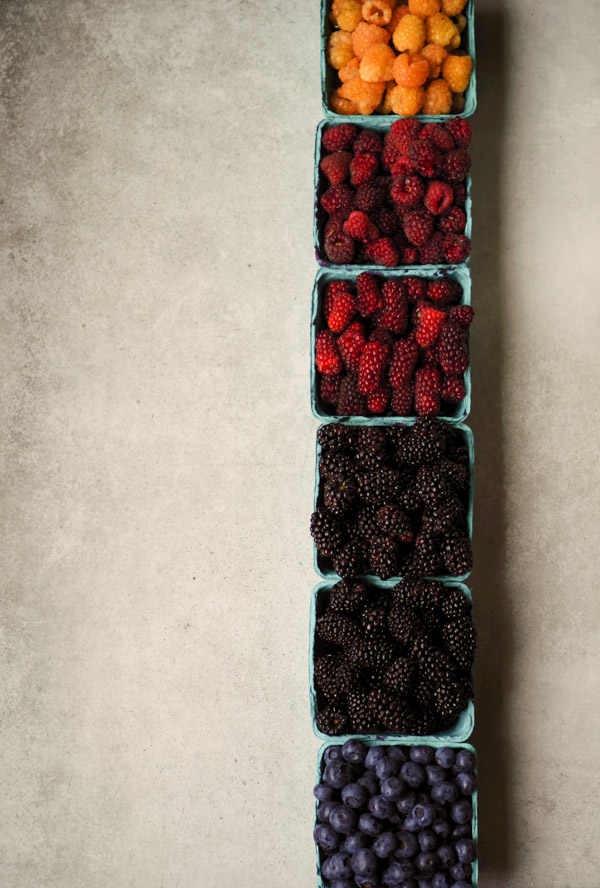 Beautiful berries from Hayton Farms:  golden raspberries, logan berries, tay berries, blackberries, marionberries, blueberries.