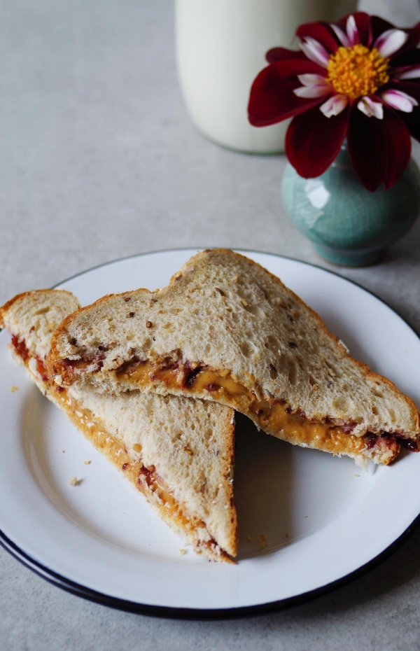 A favorite of my childhood:  peanut butter and spicy prune plum jam sandwich.