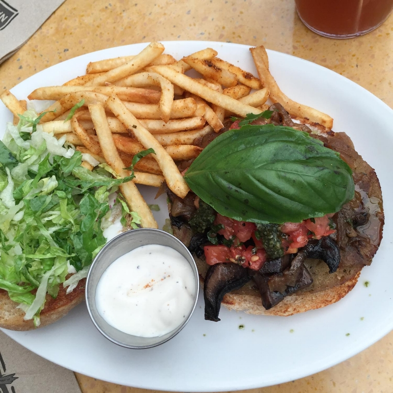 The vegan portabello and sausage burger at Native Foods