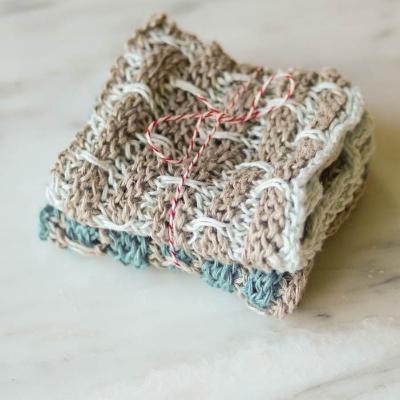 Linen Dishcloths in Ocean, sets of 2