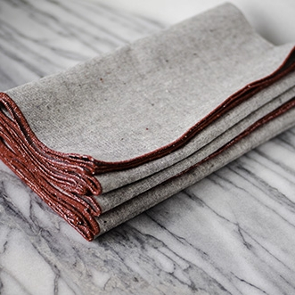 Heathered Gray Napkins in Barn Red, sets of 4