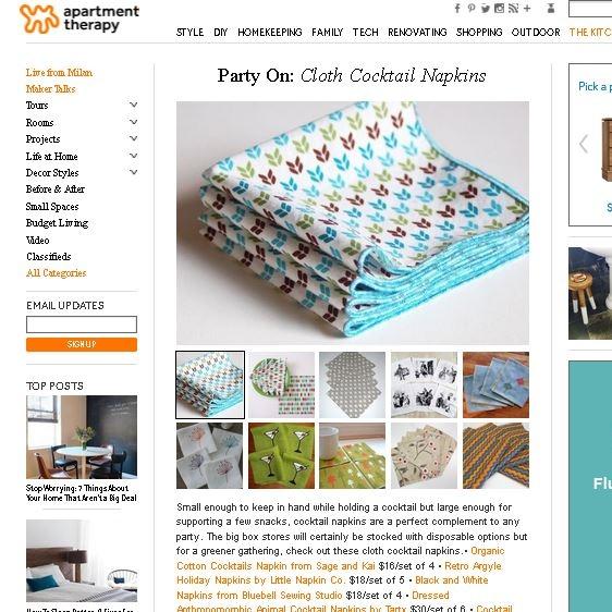 Sage & Kai napkins on Apartment Therapy website.