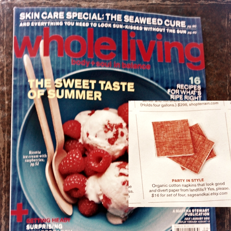 Sage & Kai Cocktail Napkins featured in Martha Stewart's Whole Living Magazine, 2012