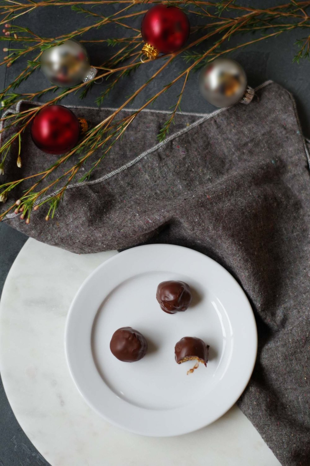 Chocolate-covered peanut butter balls, by Beautiful Ingredient
