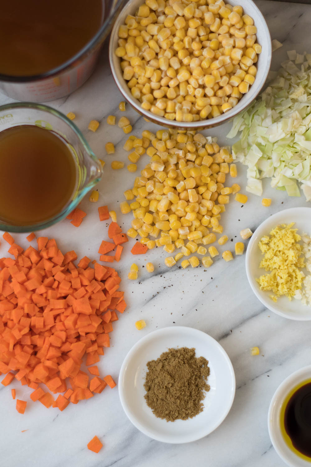 Ingredients for Indo-Chinese-Corn Soup