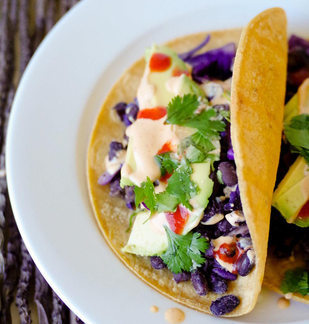 Vegan Tacos with Pimiento Rojo Sauce