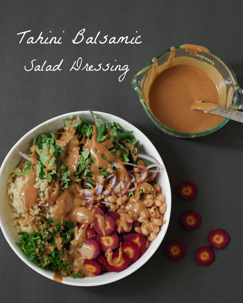 Quick and Easy Tahini Balsamic Salad Dressing on a Buddha Bowl, by Beautiful Ingredient