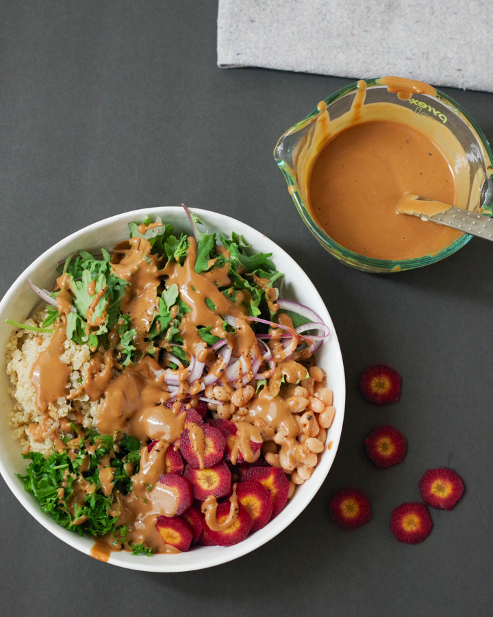 Easy Vegan Buddha Bowl with Tahini Balsamic SAlad Dressing, by Beautiful Ingredient
