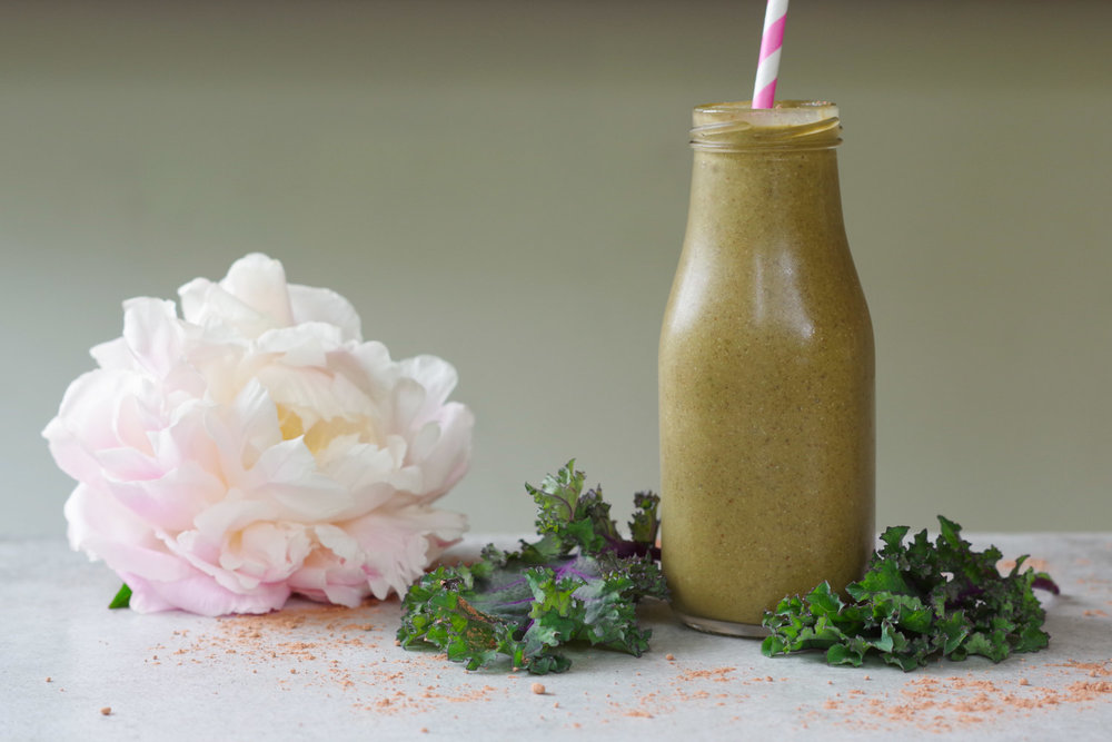 Chocolate Almond Kale Smoothie makes a great Meal on the Go, by Beautiful Ingredient