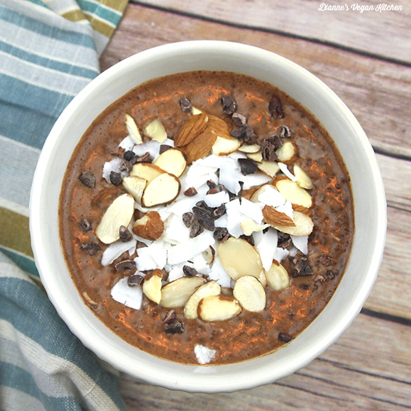 Vegan Almond Joy Chia Pudding, by Dianne's Vegan Kitchen