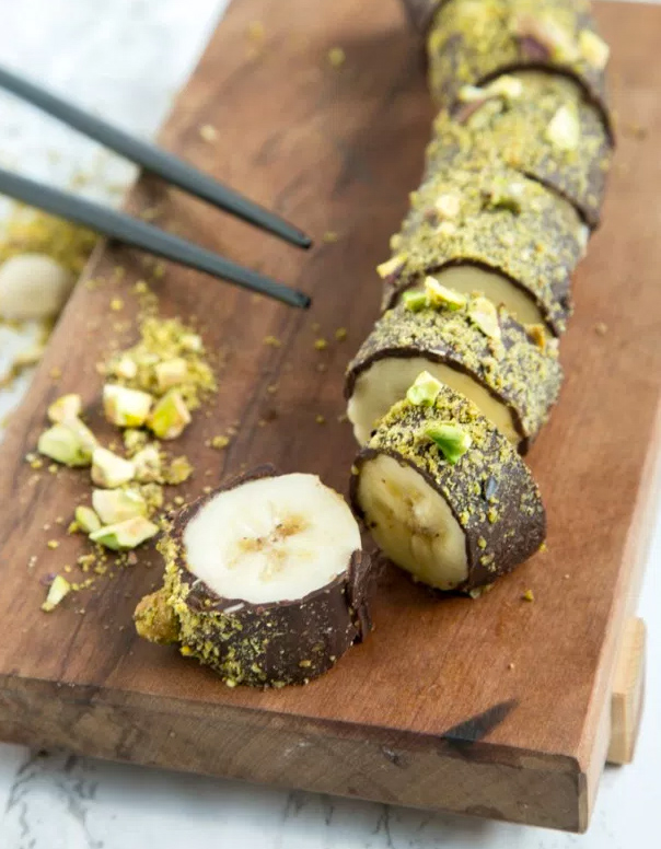Vegan Pistachio Chocolate Banana Sushi, by