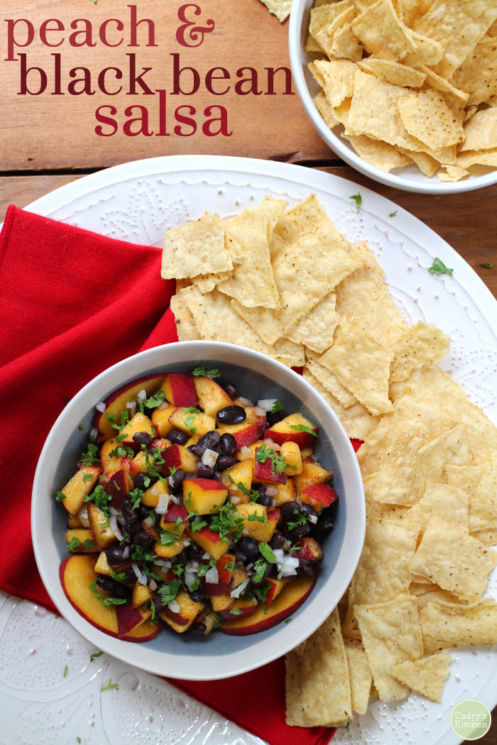 Vegan Peach & Black Bean Salsa, by Cadry's Kitchen