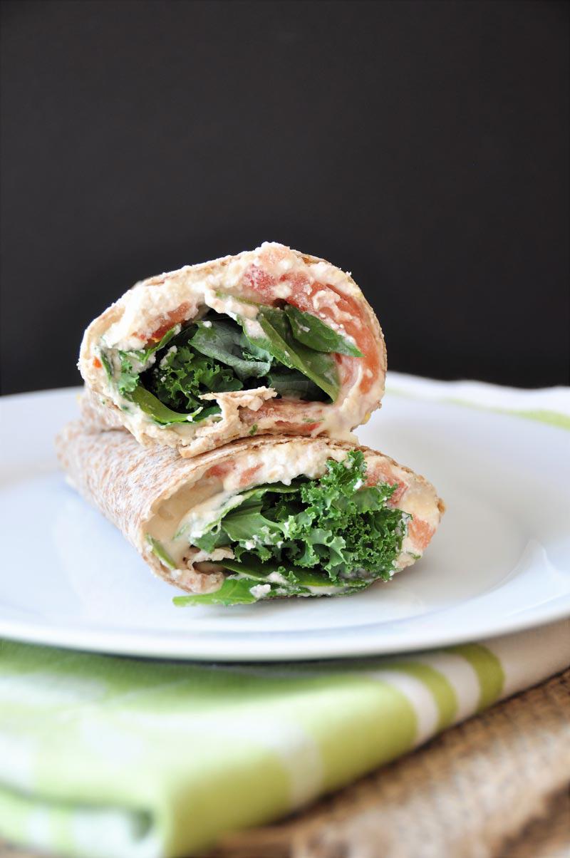 Vegan Hummus, Ricotta, Kale, & Spinach Wrap