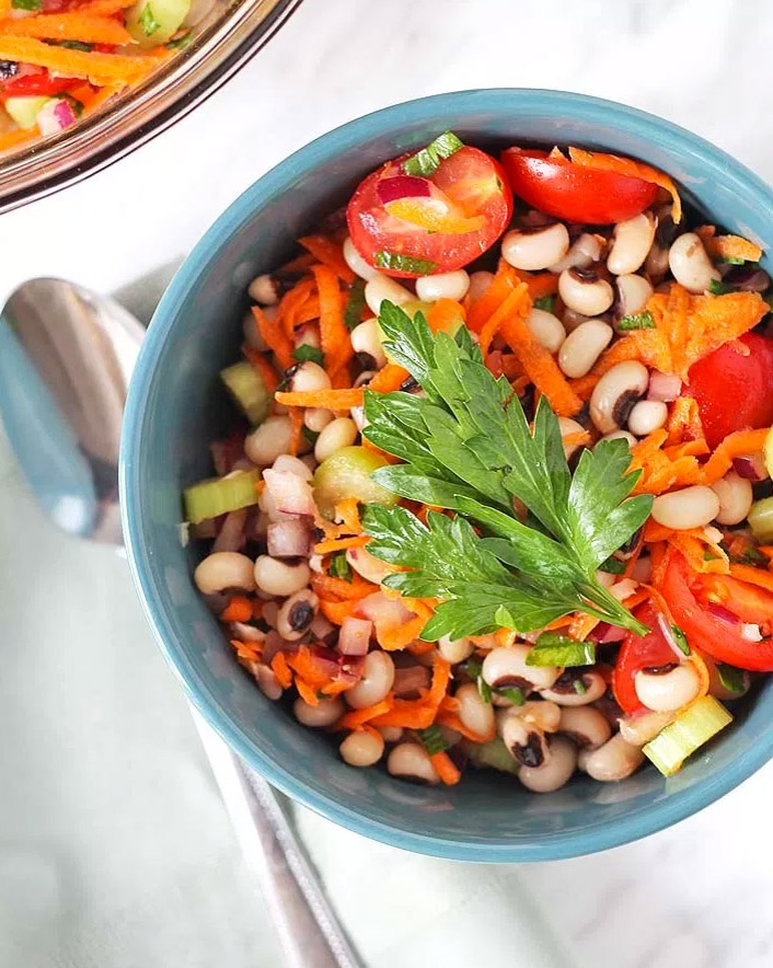 Simple Vegan Black-eyed Pea Salad, by Delightful Adventures
