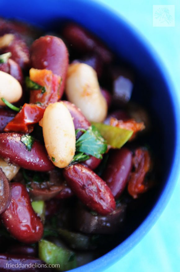 Vegan Balsamic Bean Salad, by Fried Dandelions