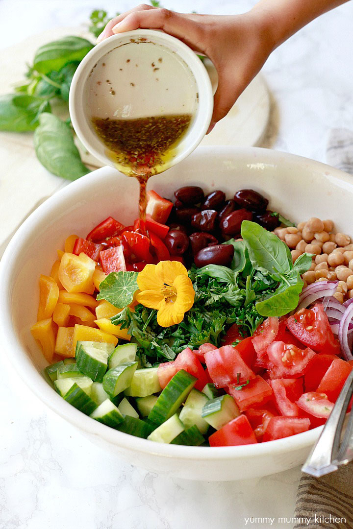 Healthy Vegan Greek Salad, by Yummy Mummy Kitchen