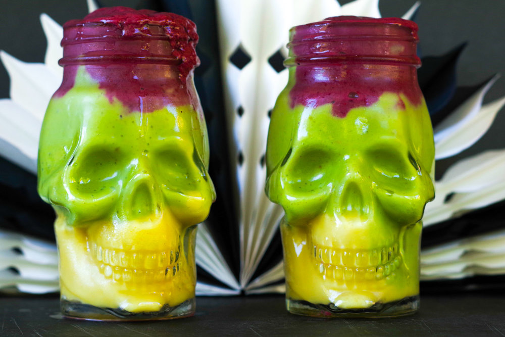 Orange, Green & Purple Halloween Smoothies, by Beautiful Ingredient