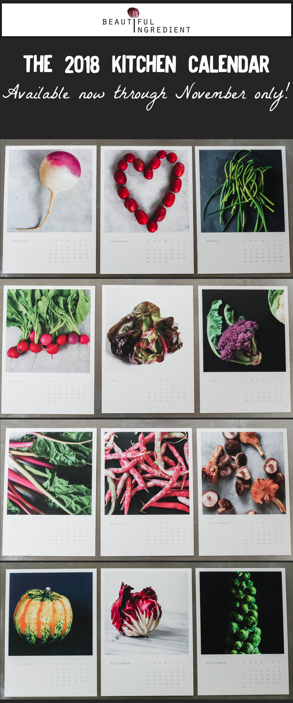 The new 2018 Kitchen Calendar by Beautiful Ingredient
