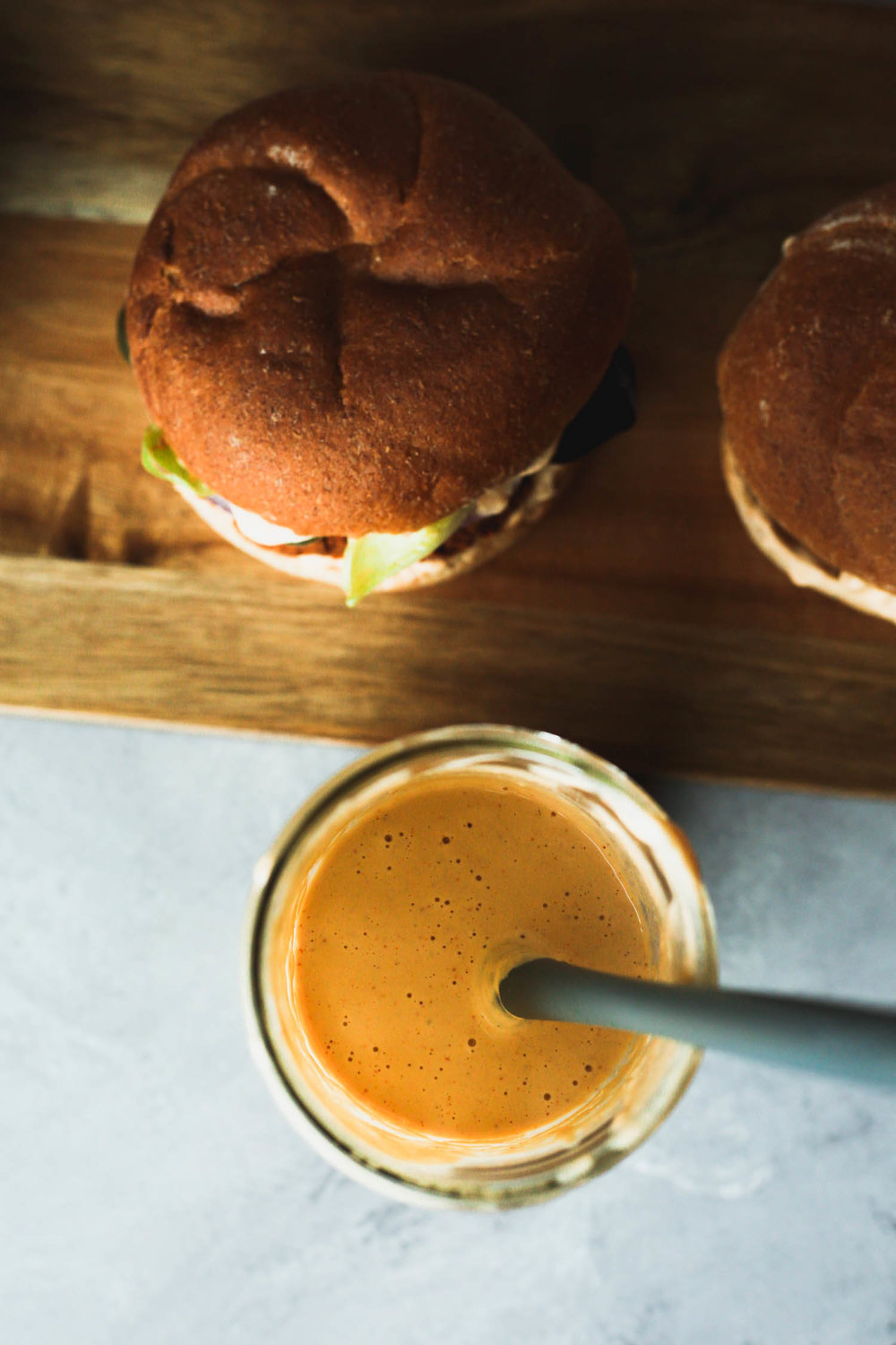 smoky Tangy Cream ready for burgers | Recipe by Sophia DeSantis, Photo by Kari of Beautiful Ingredient.