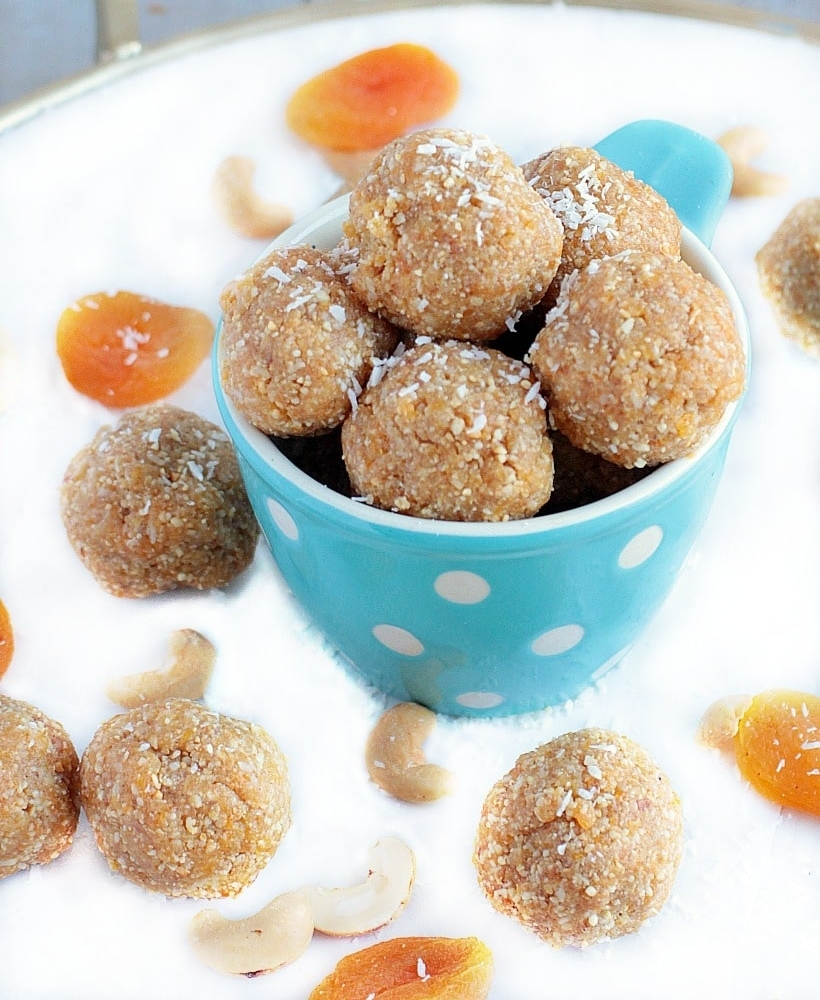Healthy Energy Bites with Dates, Apricots, Cashews, And coconut, GF Vegan | EA Stewart