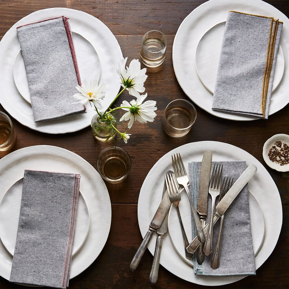 Beautiful Ingredient heathered grey napkins at Food52.  Photography by Bobbi Lin, Ty Mecham, and Mark Weinberg.
