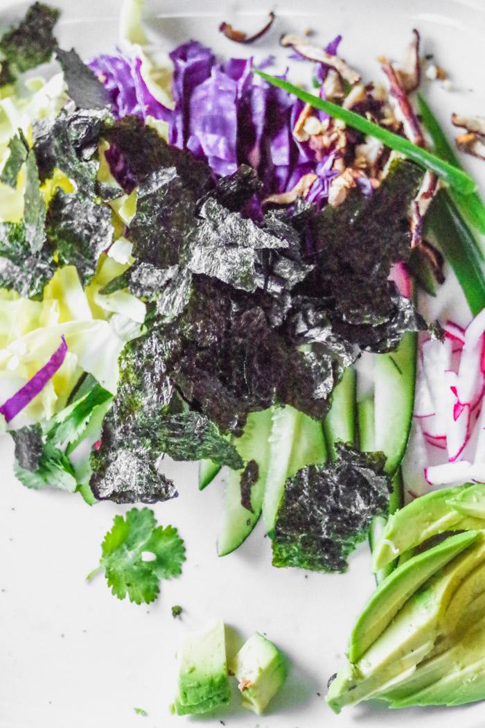 """Vegan Rainbow Sushi is easy and fun to make! Recipe by Kari of Beautiful Ingredient. """"vegan #sushi #appetizer #sushiroll"""