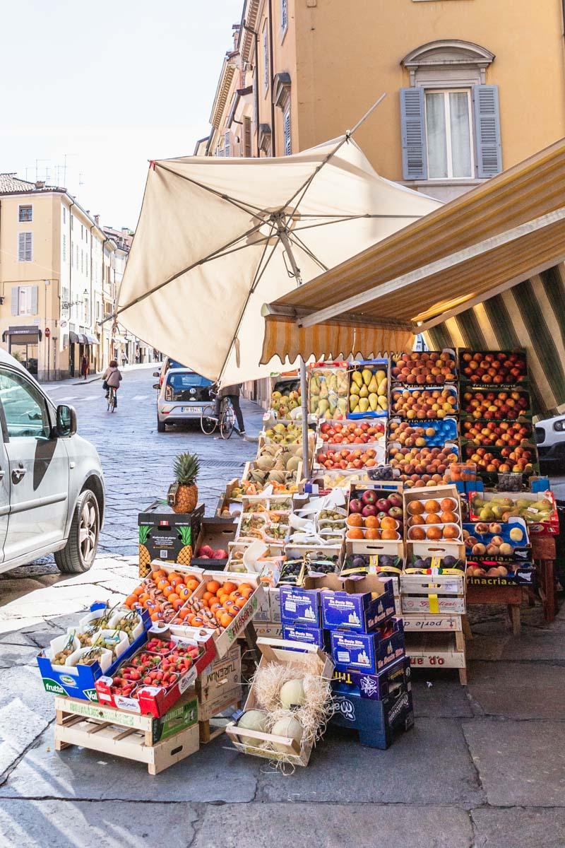 Fruit stand in Parma. Photo by Kari | Beautiful Ingredient.
