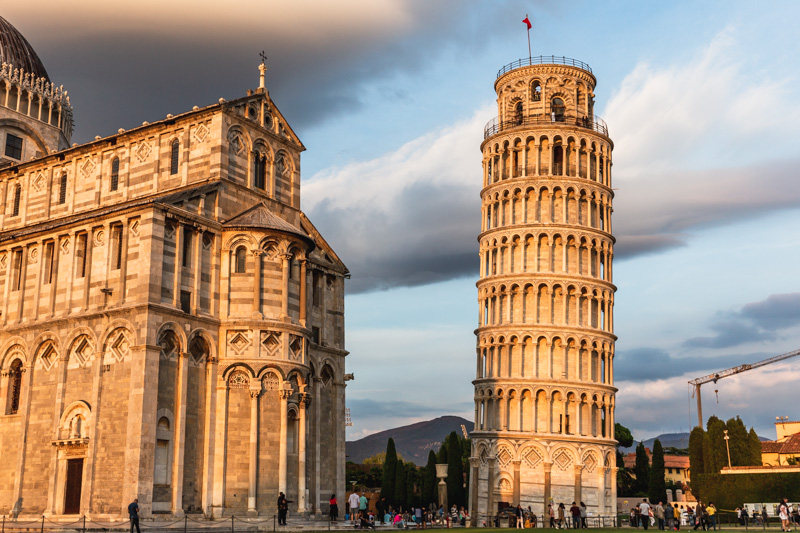 The Leaning Tower of Pisa at sunset, Italy. Photo by Kari | Beautiful Ingredient.