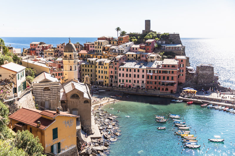 View of Vernazza from the hiking trail above - Cinque Terre. Photo by Kari | Beautiful Ingredient.