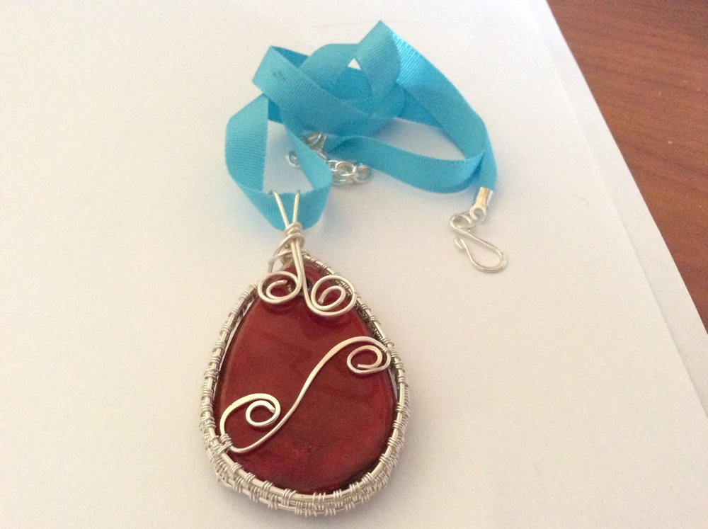 Lampwork Glass pendant, ribbon cord necklace — Wired Up Jewels