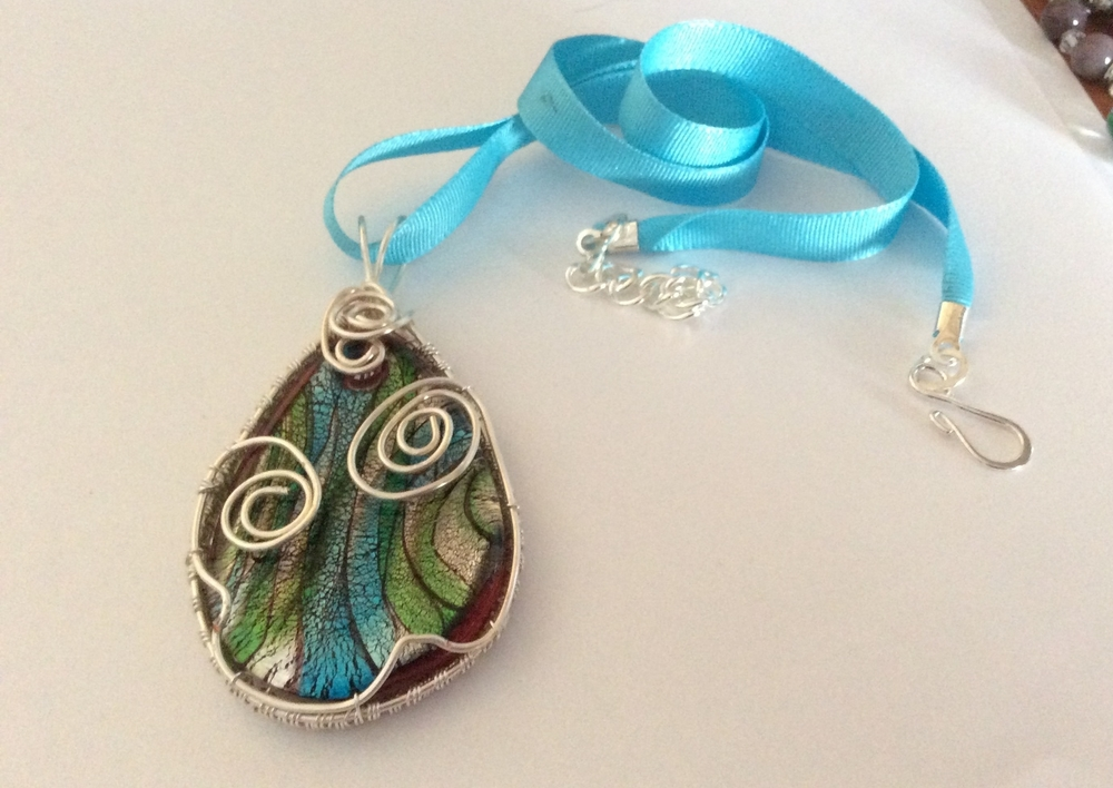 Fantastic Lampwork Glass pendant, ribbon cord necklace — Wired Up Jewels FQ28